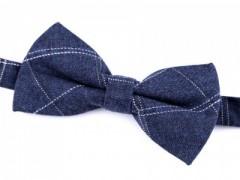 Gyapjú csokornyakkendő dobozban - Kék kockás Csokornyakkendők