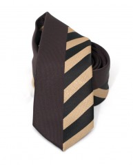 Goldenland slim nyakkendő - Barna csíkos