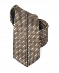 Goldenland slim nyakkendő - Barna aprópöttyös Csíkos nyakkendők