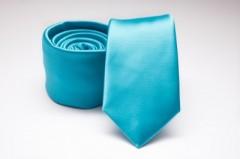 Prémium slim nyakkendő - Türkízkék szatén