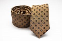 Prémium slim nyakkendő - Aranybarna kockás