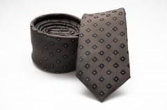 Prémium slim nyakkendő - Sötétbarna kockás