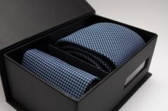 Díszdobozos nyakkendő szett - Acélkék