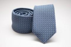 Prémium slim nyakkendő - Acélkék pöttyös