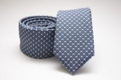Prémium slim nyakkendő - Acélkék mintás