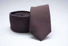 Prémium slim nyakkendő - Barna pöttyös