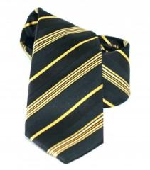 Goldenland slim nyakkendő - Fekete-aranysárga csíkos