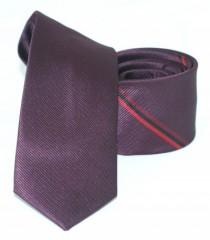 Goldenland slim nyakkendő - Padlizsán csíkos Csíkos nyakkendők