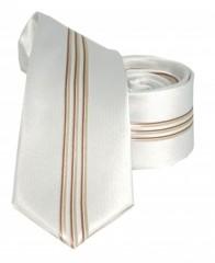 Goldenland slim nyakkendő - Bézs-arany csíkos Csíkos nyakkendők