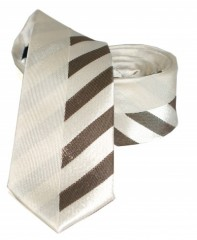 Goldenland slim nyakkendő - Ecru-barna csíkos Csíkos nyakkendők