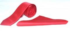 Goldenland slim szett - Piros szatén Nyakkendő szettek