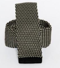Prémium kötött nyakkendő - Fekete-fehér