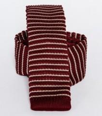 Prémium  kötött nyakkendő - Fehér-bordó csíkos
