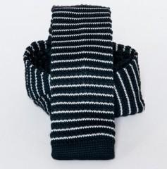 Prémium  kötött nyakkendő - Sötétkék-fehér csikos