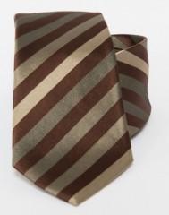 Prémium selyem nyakkendő - Sötétbarna-arany csikos Selyem nyakkendők
