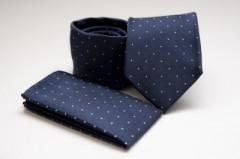 Prémium nyakkendő szett - Sötétkék pöttyös