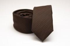 Prémium slim nyakkendő - Sötétbarna mintás