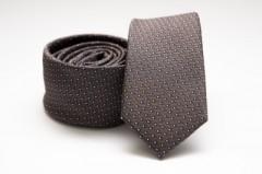 Prémium slim nyakkendő - Szürkés-barna pöttyös