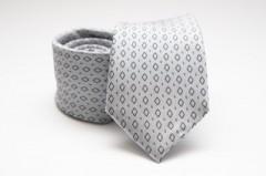 Prémium nyakkendő - Ezüst rombusz mintás Kockás nyakkendők