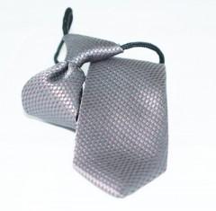 Gumis gyereknyakkendő (mini)  - Ezüst-bordó Gyerek nyakkendők