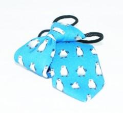Gumis gyereknyakkendő (mini)  - Türkíz pingvines Gyerek nyakkendők