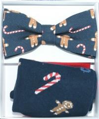 Díszdobozos szett - Sötétkék karácsonyi mintás Csokornyakkendők