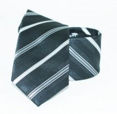 Goldenland slim nyakkendő - Fekete-ezüst csíkos Csíkos nyakkendők