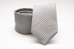 Prémium selyem nyakkendő - Ezüst pöttyös Selyem nyakkendők