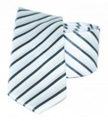 Goldenland slim nyakkendő - Ezüst csikos Csíkos nyakkendők