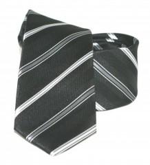 Goldenland slim nyakkendő - Fekete csíkos Mintás
