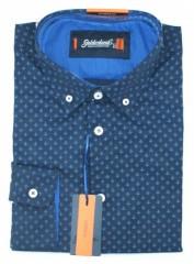 Goldenland hosszúujjú slim ing - Kék horgony mintás Normál fazon