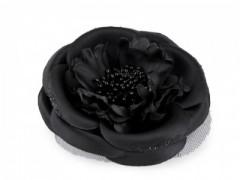 Virág kitűző - Fekete