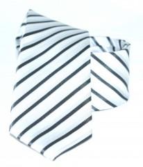 Goldenland slim nyakkendő - Ezüst-fekete csíkos