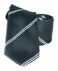 Goldenland slim nyakkendő - Fekete-fehér csíkos