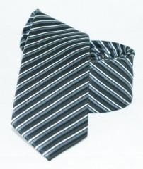 Goldenland slim nyakkendő - Ezüst-fekete csíkos Csíkos nyakkendők