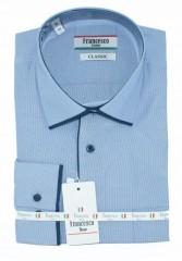 Francesco hosszúujjú ing - Kék hajszálcsíkos Normál fazon