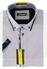Goldenland rövidujjú Smart fitt ing - Sötétkék mintás Slim, Smart fazon