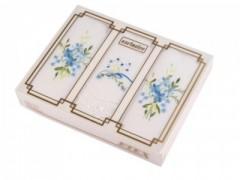Himzett női zsebkendő szett dobozban Zsebkendők