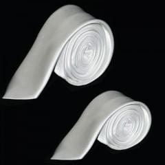 Szatén apa-fia nyakkendő szett - Fehér Apa-fia szettek