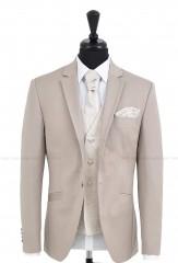 CB Esküvői öltöny+mellény szett 5 részes - Drapp Öltönyök, nadrágok