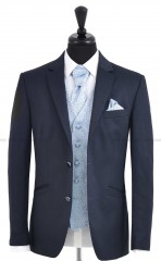 CB Esküvői öltöny+mellény szett 5 részes - Sötétkék Öltönyök, nadrágok