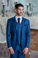 D'Royce Esküvői öltöny+mellény szett 5 részes - Acélkék Öltönyök, Zakók