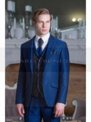 Carlo Benetti Esküvői öltöny+mellény szett 5 részes - Középkék Öltönyök, Zakók