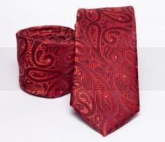 Prémium slim nyakkendő - Piros mintás Mintás nyakkendők