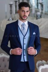 Carlo Benetti Esküvői mellény szett 3 részes - Kék Alkalmi mellények