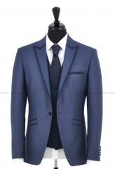 Carlo Benetti Esküvői öltöny+mellény szett 5 részes extra öltöny - Acélkék Öltönyök, Zakók