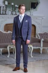 Carlo Benetti Esküvői öltöny+mellény szett 5 részes extra méret - Acélkék Öltönyök, Zakók