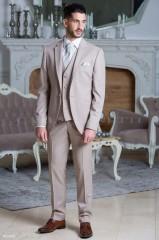 Carlo Benetti Esküvői öltöny+mellény szett 5 részes extra méret - Drapp Öltönyök, Zakók