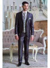 Carlo Benettti Esküvői öltöny+mellény szett 5 részes extra méret - Sötétszürke Öltönyök, Zakók