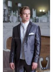 Carlo Benetti Esküvői öltöny+mellény szett 5 részes extra méret- Középszürke Öltönyök, Zakók